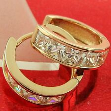 FS583 GENUINE REAL 18K ROSE GF GOLD SOLID DIAMOND SIMULATED HUGGIE HOOP EARRINGS