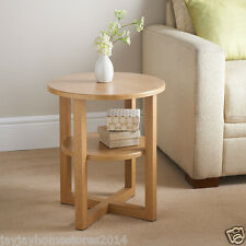 NEW Contemporary round shaped  Oak Finish Milton Side Table