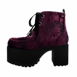 T.U.K. Shoes Burgundy Crushed Velvet Nosebleed Platform Boot