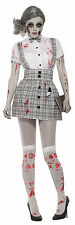Zombie School Girl Halloween Fancy Dress Outfit  Costume Size 10-14