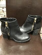 River Island Womens Black Leather Chunky Heeled Boots Size 6