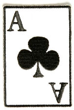 "Ace Of Clubs Iron On PATCH - 2"" x 3"" Free Shipping Biker Patch Las Vegas P3358"