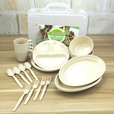 24pcs (Mugs Bowls Spoons Forks Plates Included) Picnic Camping Tableware Set