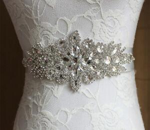 Wedding Dress Belt Bride Bridesmaid Party Prom Crystal Diamante Applique Sash