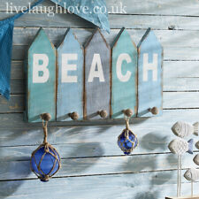 "Nautical Style ""Beach"" Wooden 5 Peg Wall Hooks - Kitchen, Bathroom, Beach Hut"