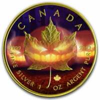 2019 Halloween Maple Leaf Coloured 1oz .9999 Silver Coin - Gilded