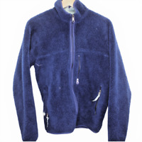 Y59 Vintage Patagonia Made in USA Fleece Blue Full Zip Jacket Sweater Men's S