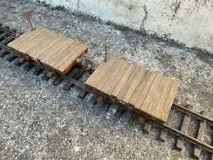 G-Scale Flatbed trucks.  Hand-made wood, professionally weathered.  Set of 2.