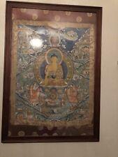 18th Century Tibetan Thangka, Buddhist Wheel of Life, Silk Mounted Framed