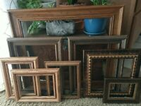 Vintage 8 Wood PICTURE FRAME Lot Recycle Arts Crafts Project Deco Estate Sale
