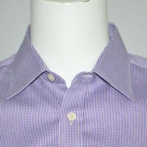 CHARLES TYRWHITT Slim Fit Non Iron Purple Check Cotton Dress Shirt 16.5 - 35