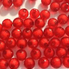 200 Acrylic Facet Round Beads 8mm Red Jewellery Making