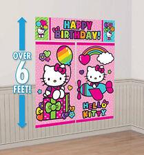 HELLO KITTY Scene Setter HAPPY BIRTHDAY party wall decoration kit 6' Sanrio cat