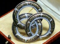 Vintage Large Damascene 3 Interlocking Circles Brooch Pin Spain Multi Tone Gold
