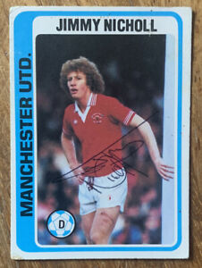 Signed 1970s Topps Trading Card Jimmy Nicholl Blur Back Manchester United
