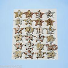 Legno-ADVENTSKALENDER numeri 1-24 ORO/ARGENTO/RAME numeri in legno Stella Stelle