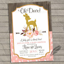 Oh Deer Baby Shower Invitations / Deer Floral Country Chic / Set of 10 PRINTED