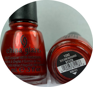 China Glaze Nail Polish BEND OVER BACKWARD 1202 Red Orange Shimmer Lacquer