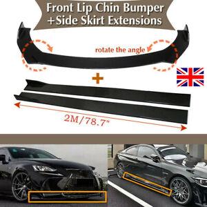 """Universal Car Front Bumper Lip Spoiler Splitter +78.7"""" Side Skirts Extensions UK"""