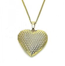 9ct Gold Filled  Large Filigree Heart Locket Pendant  Chain Necklace  569