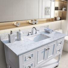 43 inch Bathroom Marble Vanity Top With Rectangle Ceramic Sink + Back Splash Us