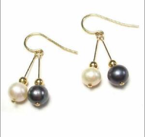 PERFECT 9-10mm AAA black white south sea natural pearl dangle earring 14k hook