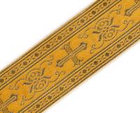 "3 Yards Religious Vestment Trim Yellow Gold Metallic Jacquard Christian 2"" Wide"