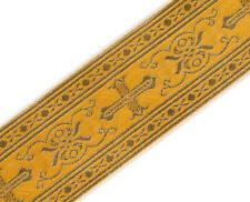"3 Yards Religious Vestment Trim Yellow Gold Metallic Jacquard Christian 2"" Wide"