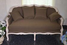 Sofa Leinen Stoff  Zweisitzer Couch Landhaus Kissen Rustikale Mango Massiv Holz