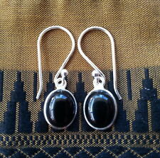 315 Black Onyx oval gemstone solid 925 sterling silver earrings rrp$34.95