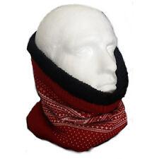 In Pile Reversibile Lavorato A Maglia Fairisle Sciarpa Tubo Collo Maschera Rosso Nero Basso di lenza