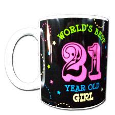 Worlds best 21 year old girl mug white handle birthday novelty mug great gift!