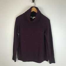 C&C California Maroon Speckled High Low Wool Blend Turtleneck Sweater Size Large