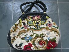 VINTAGE Made in ITALY Floral Needlepoint Tapestry Carpet Handbag Purse