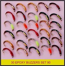 30 Trote Mosche resina epossidica CICALINO FLY Fishing Flies MULINELLO CANNA S90-HB per le linee