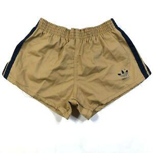 Vintage Adidas Trefoil Boys Youth M 24-26 Brown Running Shorts Blue Cloth
