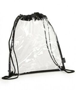 "Clear Plastic Drawstring Bagpack See Through School Bag (14"" X 17"")"