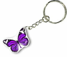 Keychain key ring keyring car motorcycle home housse butterfly purple biker
