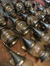 Antique vtg retro Gothic style AXE porch sconce light fixtures glass shade 14 av