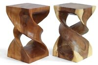 Double Twist plant lamp stand side end table stool hand carved solid Acacia wood