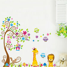 Owl Wall Stickers Animal Zoo Jungle Tree Nursery Baby Bedroom Mural Decals Decor