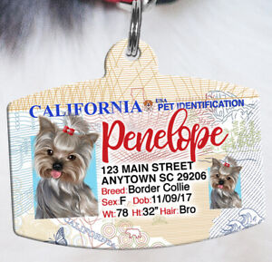 California Driver License Pet ID tags Dog ID Tag Personalized Pet IDTag aluminum