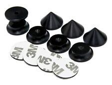 BLACK - 4 x Speaker Spikes + 4 x Spikes Pads 5Radius + 3M adhesive pads