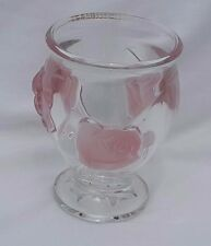 """Pretty in Pink Teleflora Glass Vase w/Sculpted Pink Roses Made in France 6.25"""""""