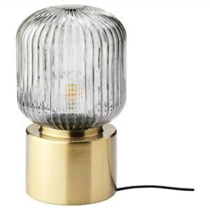 "Ikea Solklint Table Lamp Modern Brass / Gray Clear Glass 11"" New"