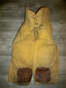 Early Old Antique Empire 1920's 1930's Canvas & Leather Football Pants Vintage