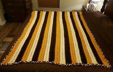 """Afgan Blanket Handmade Crochet Hand Knit 67"""" x 52"""" Warm Brown Mustard Cream"""