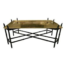 Large Hollywood Regency Chinoiserie Brass Tray Coffee Table W/ Faux Bamboo Base