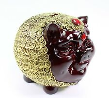 "Large Money Pig 8"" Piggy Bank Gold Coins All Over Rosewood Red Gift Home Decor"
