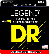 DR Strings FL-45 LEGEND Flatwound Stainless Steel Bass Guitar Strings, Round Cor